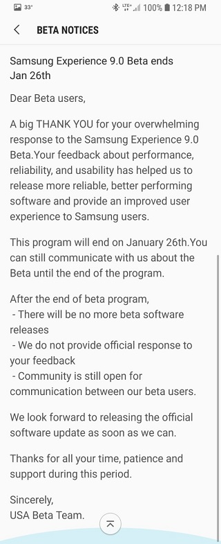 Galaxy S8 Android 8.0 güncellemesi