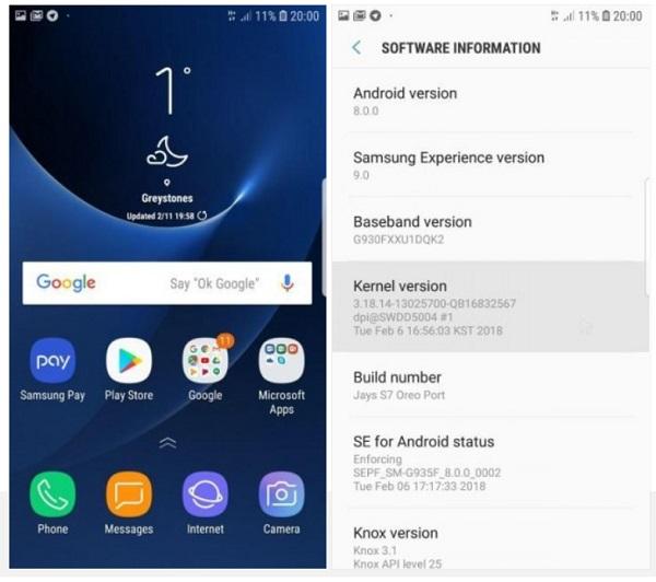 Galaxy S7 edge Android Oreo