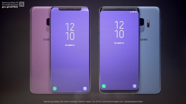 Samsung Galaxy S9 çentikli nasıl görünürdü?