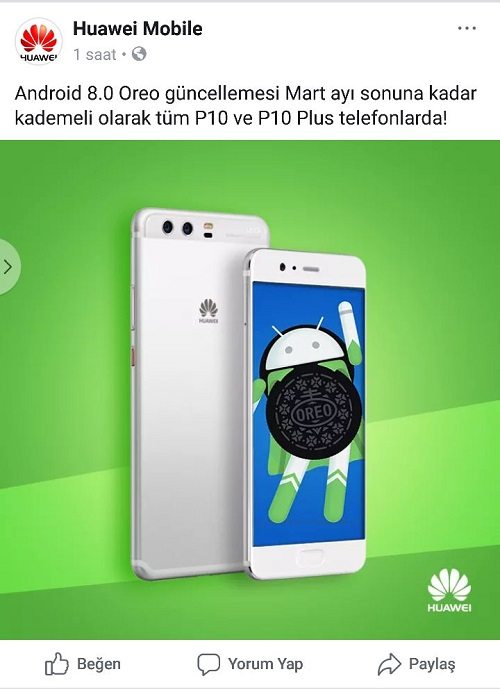 Huawei P10 ve P10 Plus Android 8.0