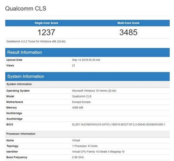 Snapdragon 850 Geekbench 4