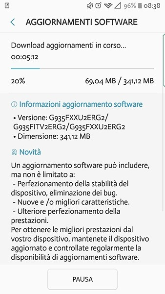 Galaxy S7 edge için yeni bir güncelleme