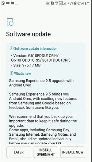 Galaxy J7 Prime Android Oreo