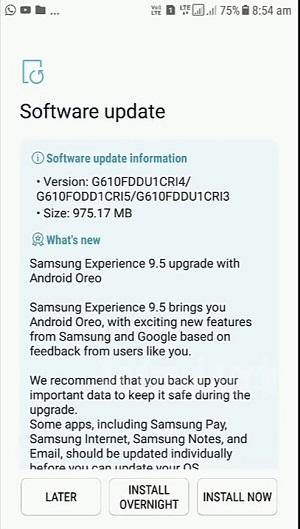 Galaxy J7 Prime Android Oreo