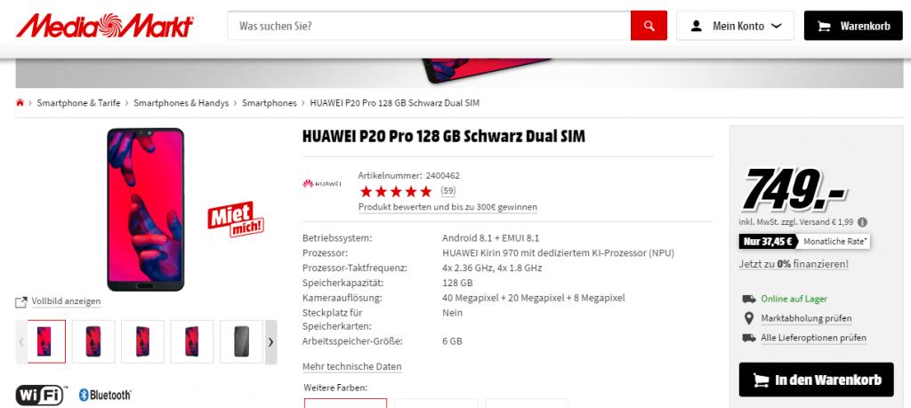 Huawei P20 Pro fiyat
