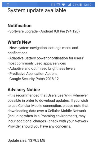 Nokia 8 Sirocco Android Pie