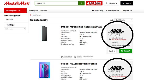 Oppo R17 Pro fiyat