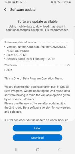 Galaxy Note 8 Android 9 Pie