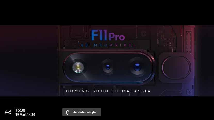 Oppo F11 Pro canlı yayın ile tanıtılıyor! Birlikte izleyelim mi?