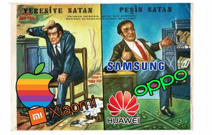 Samsung, Huawei, OPPO peşin satan Xiaomi ve Apple veresiye satan