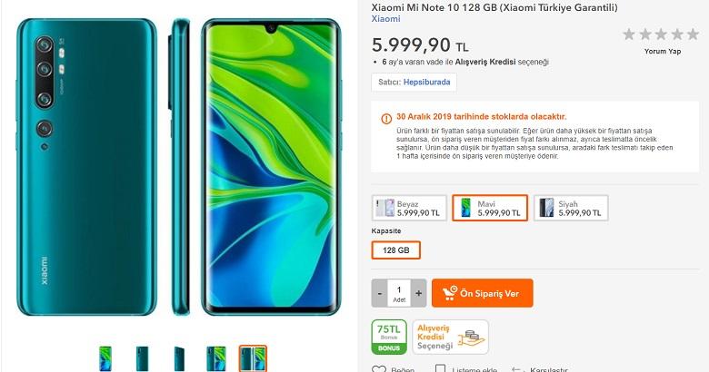 Xiaomi Mi Note 10 Türkiye fiyatı belli oldu