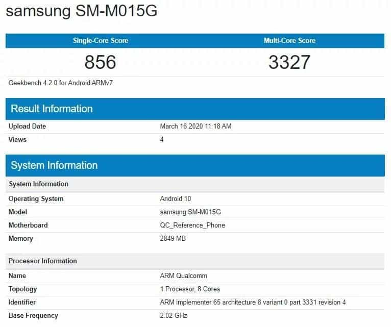 Galaxy M01 GeekBench