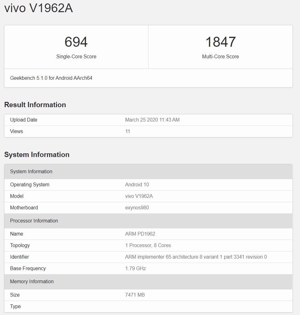 Vivo S6 5G'nin GeekBench skorları