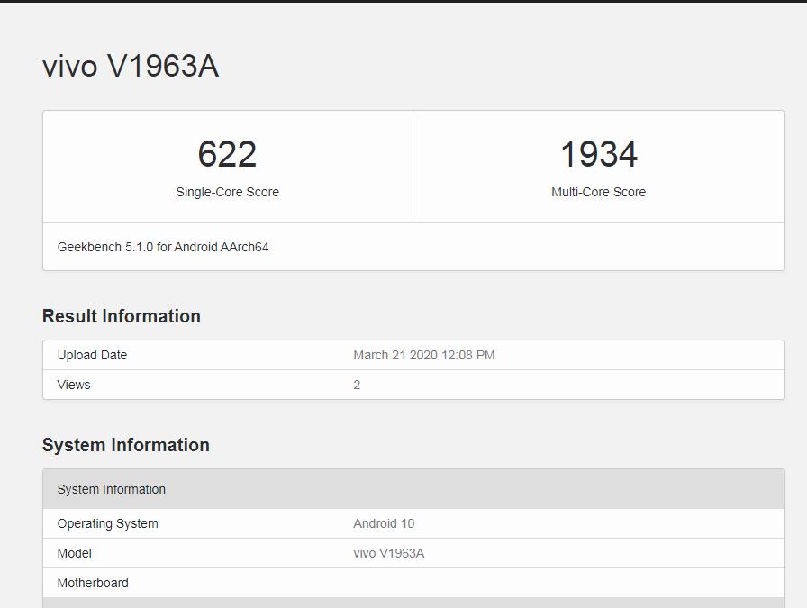 Vivo Z6 5G'nin GeekBench skorları