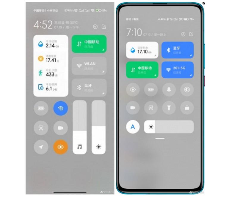 MIUI 13 ve MIUI 12.5 kontrol panelleri